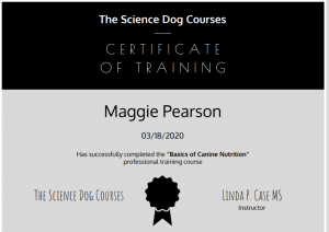 Certificate in Training from The Science Dog