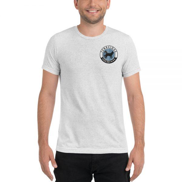 man wearing Tenacious Dog Training t-shirt